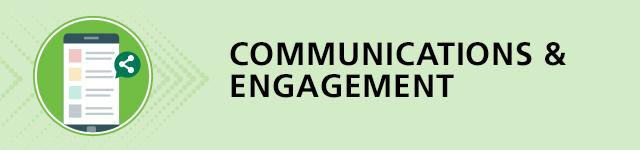 illustration of a document titled communications and engagement