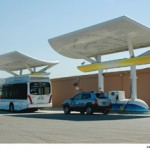 Hydrogen fuel cell bus and Hyundai-Tucson SUV
