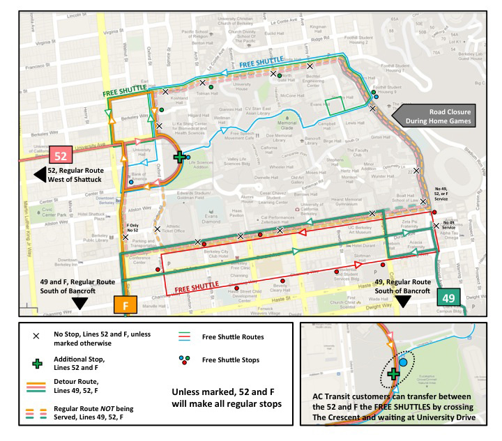 detours on lines 49 52 and f in berkeley on saturday september 29