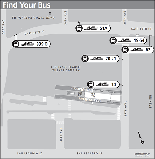 Fruitvale BART New Years Day stops map