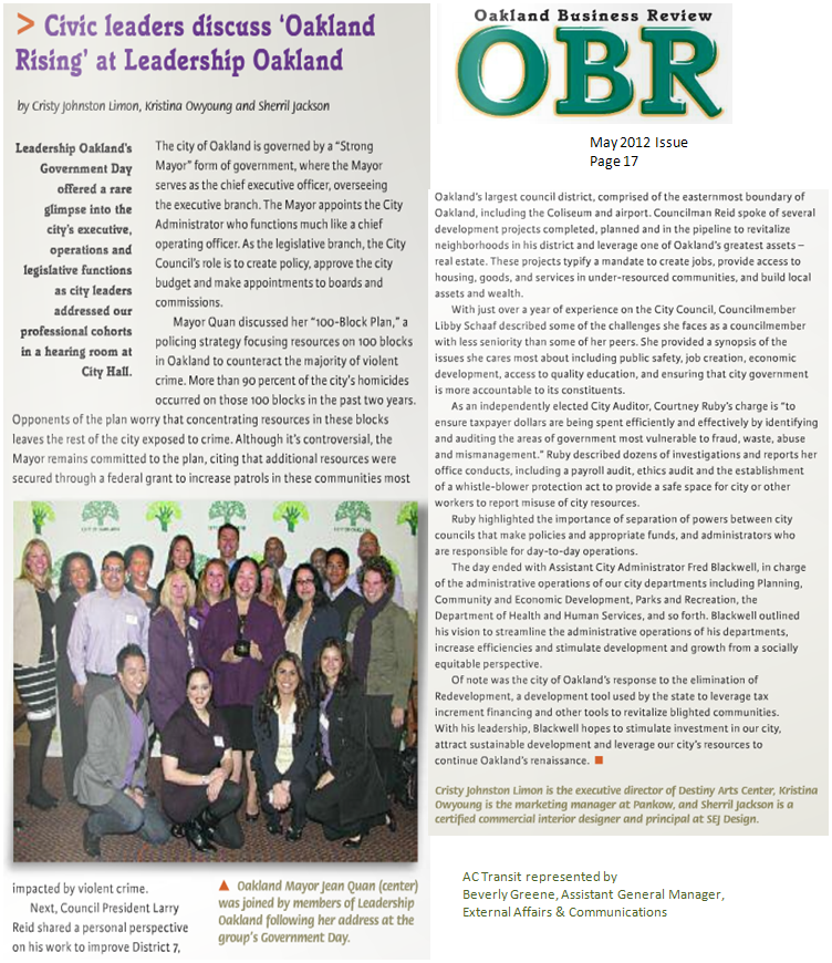 Oakland Business Review, May 2012