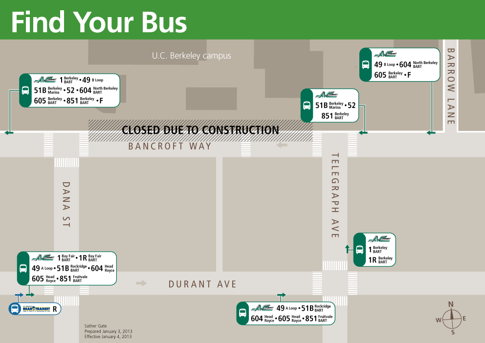 Sather Gate Temporary Transit Stops diagram