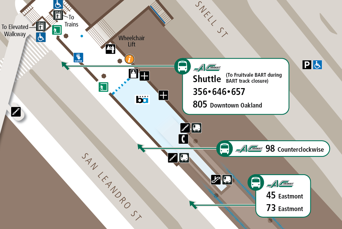 Map of stops on the northeast side of San Leandro Street at Coliseum BART