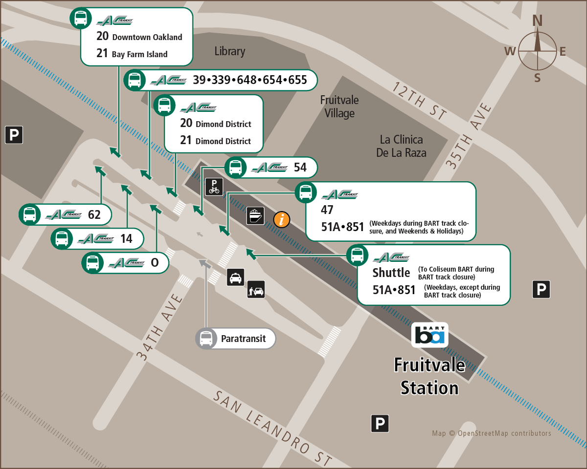Map of stops at Fruitvale BART