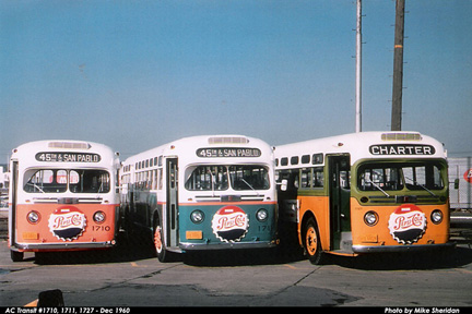 AC Transit buses 1710, 1711 and 1727