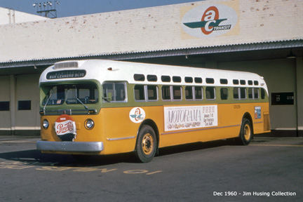 Still in Key System colors, AC Transit bus number 2026 at AC Transit's East Oakland yard.
