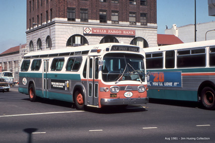 AC Transit bus number 734 in downtown Berkeley