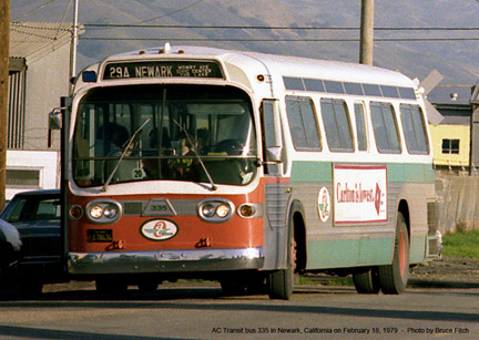 AC Transit bus 335 in Newark in April 1979