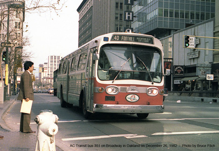 AC Transit bus 351 in downtown Oakland in December 1982.