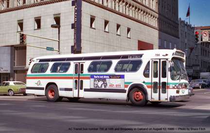 AC Transit bus number 786 at 14th and Broadway on August 12. 1986