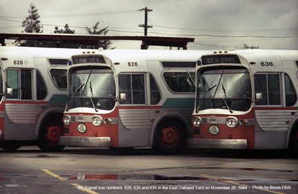 AC Transit buses 626 and 636 in November 1984