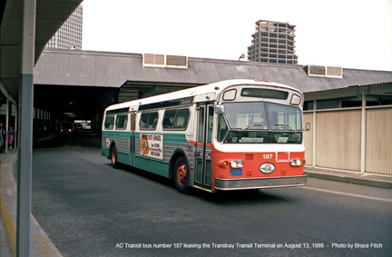 AC Transit bus 187 at San Francisco Terminal in August 1986.