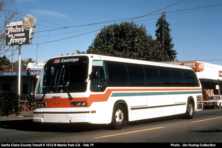 Santa Clara County Transit bus number 1012 still in AC Transit colors