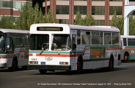 AC Transit bus 1087 at San Francisco Terminal in August 1987