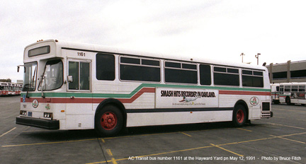 AC Transit bus 1161 in the Hayward Yard on May 11, 1991.