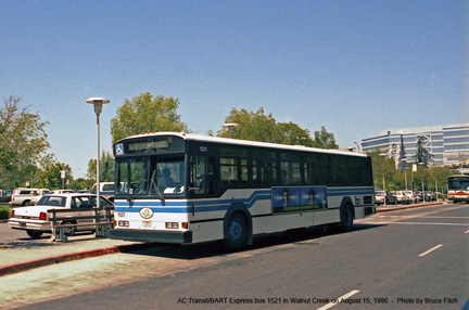 AC Transit/BART bus 1521 in Walnut Creek in August 1986.