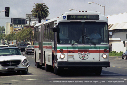 AC Transit bus 1643 in Oakland on August 15, 1988