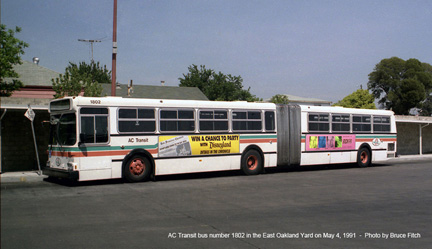 AC Transit bus 1802 at AC Transit's East Oakland Yard on May 4, 1991.
