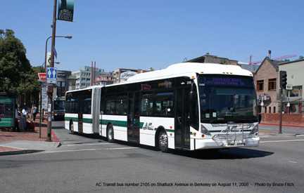 AC Transit bus number 2105 in Berkeley