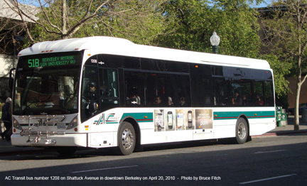 AC Transit bus 1208 in Berkeley on April 20, 2010.