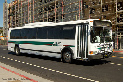 AC Transit bus number 150 in AC Transit colors