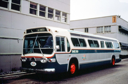 AC Transit bus number XMC-53.  Renumbered as bus number 625