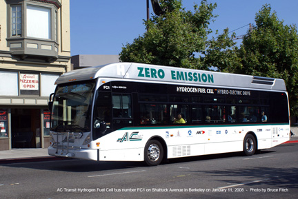 AC Transit fuel cell bus FC1 in Berkeley on August 12, 2008.