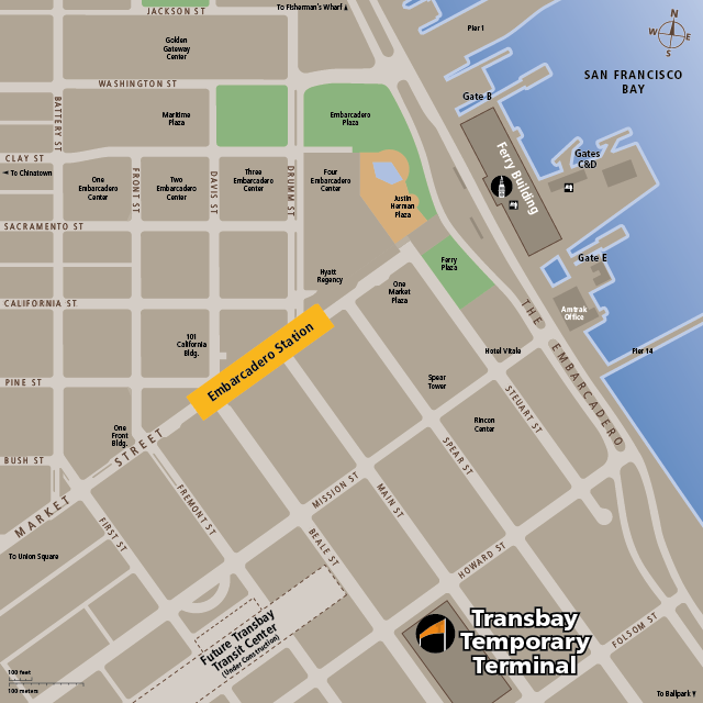 Map for the Embarcadero Station and Transbay Temporary Terminal area